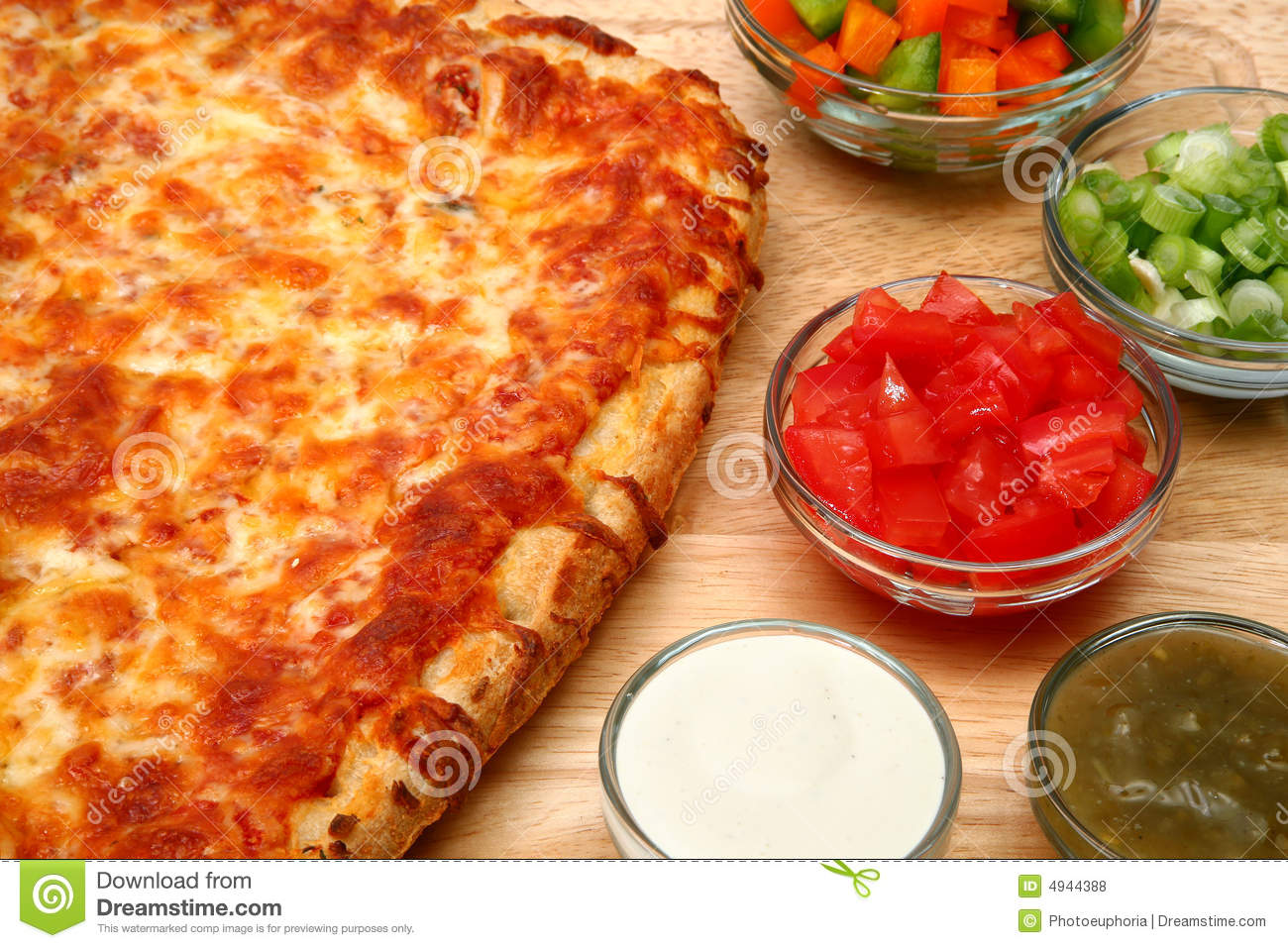 Cheese Bread Pizza And Fresh Toppings Royalty Free Stock ...