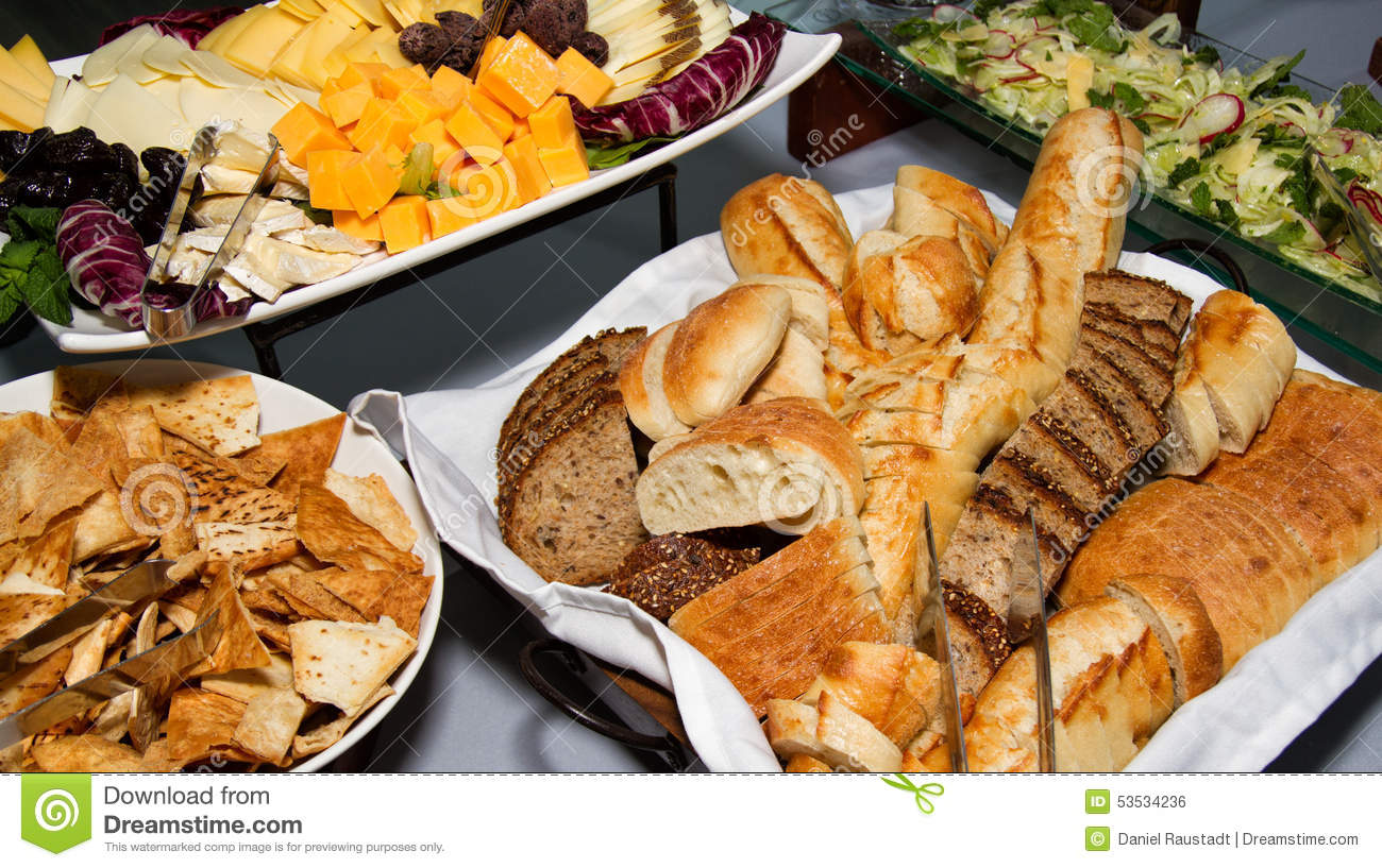 cheese bread and salad party buffet stock photo image of plate chile 53534236. Black Bedroom Furniture Sets. Home Design Ideas