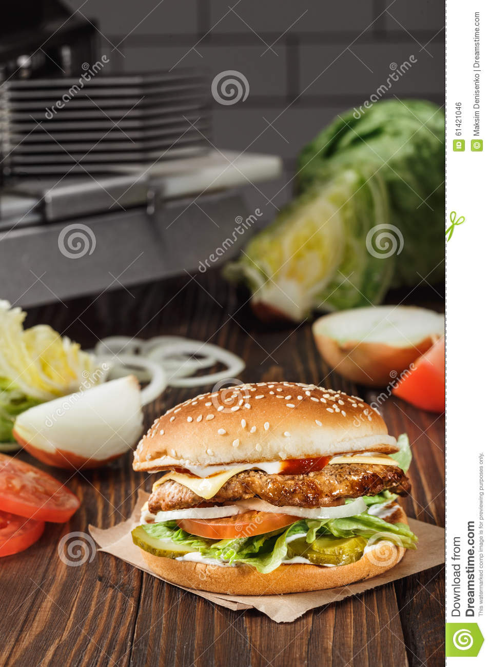 Cheese Burger With Grilled Meat, Cheese, Tomato, On Craft Paper Stock ...