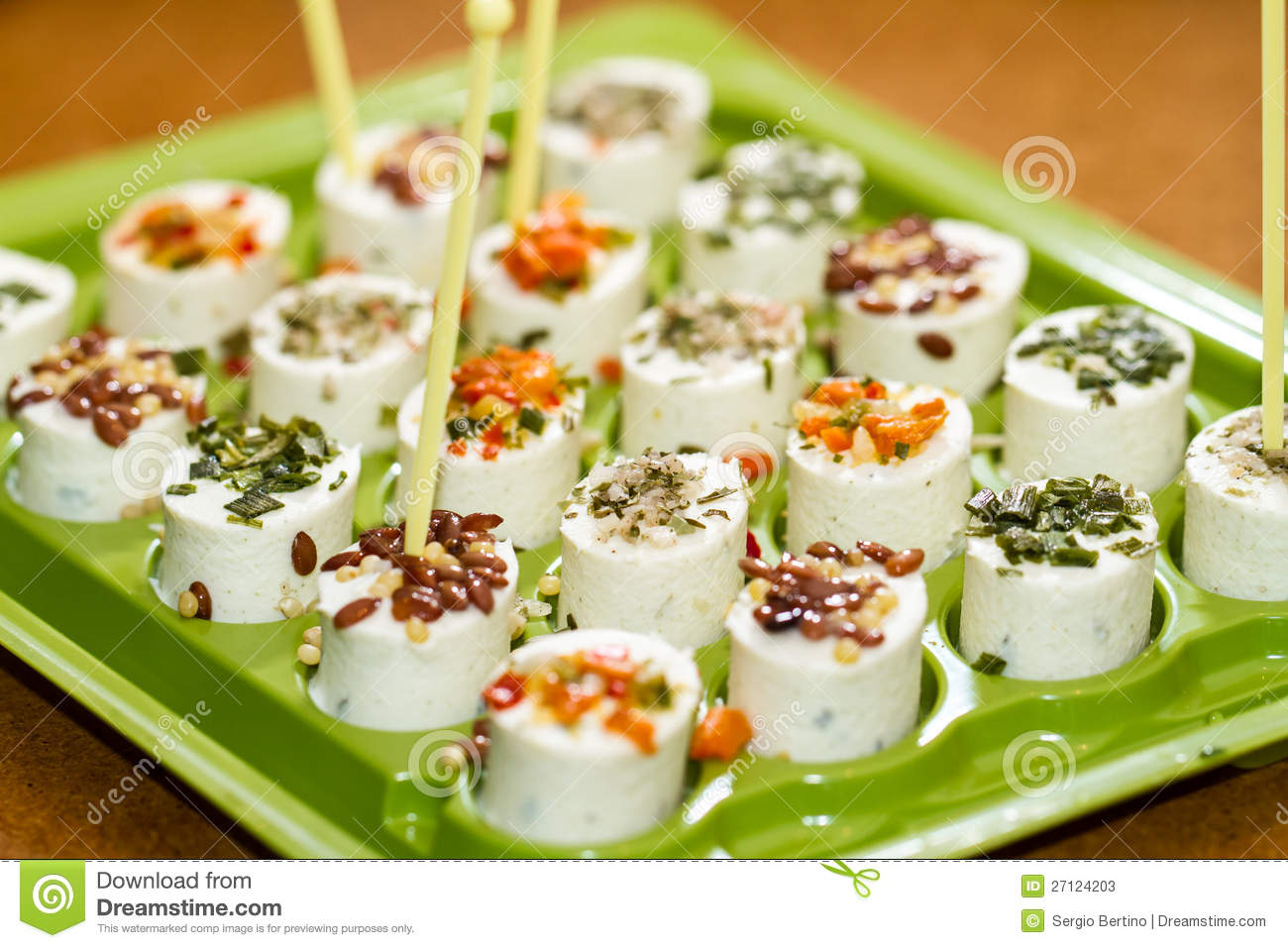 Cheese canapes stock photos image 27124203 for Canape with cheese