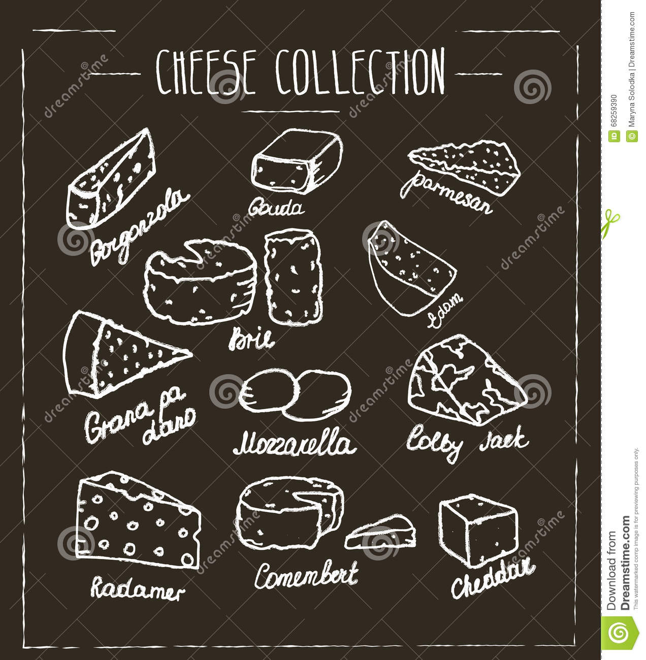 Hand Drawn Type Of Cheese On Chalk Boa Stock Vector