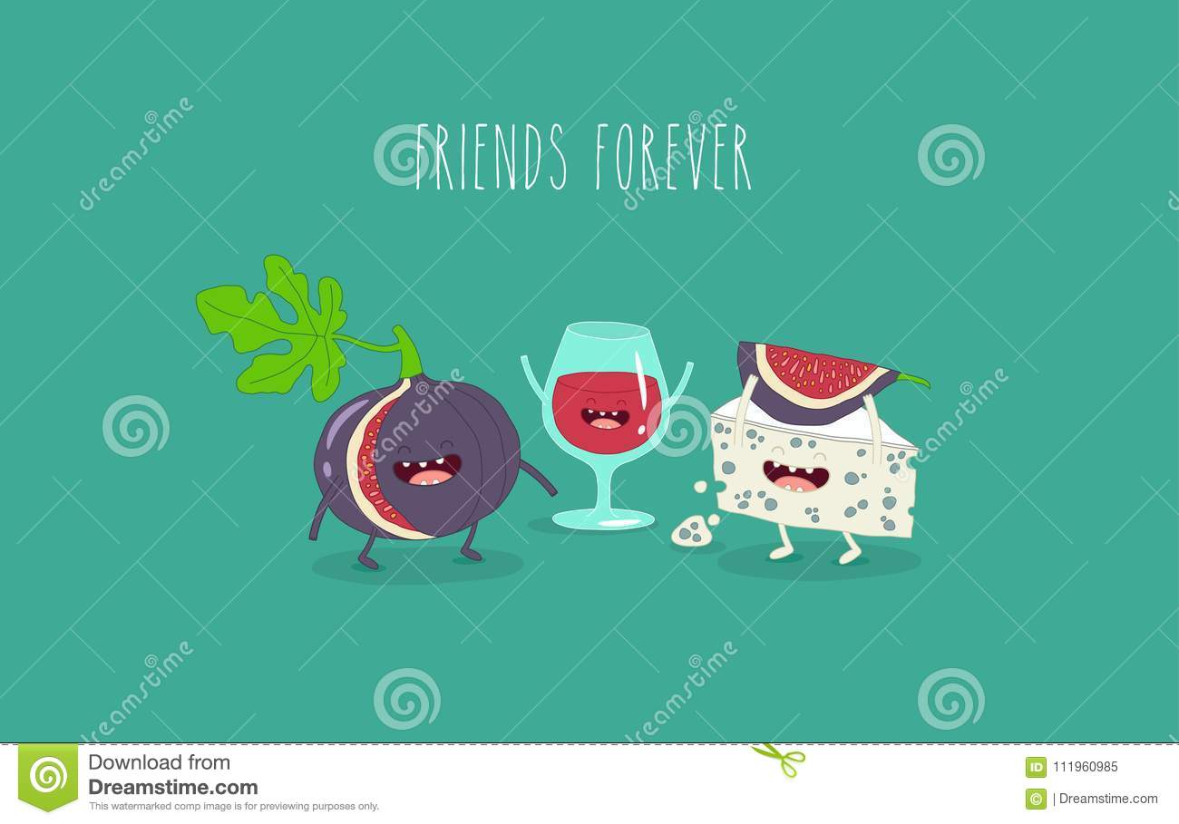 Cheese and fig friends stock vector  Illustration of