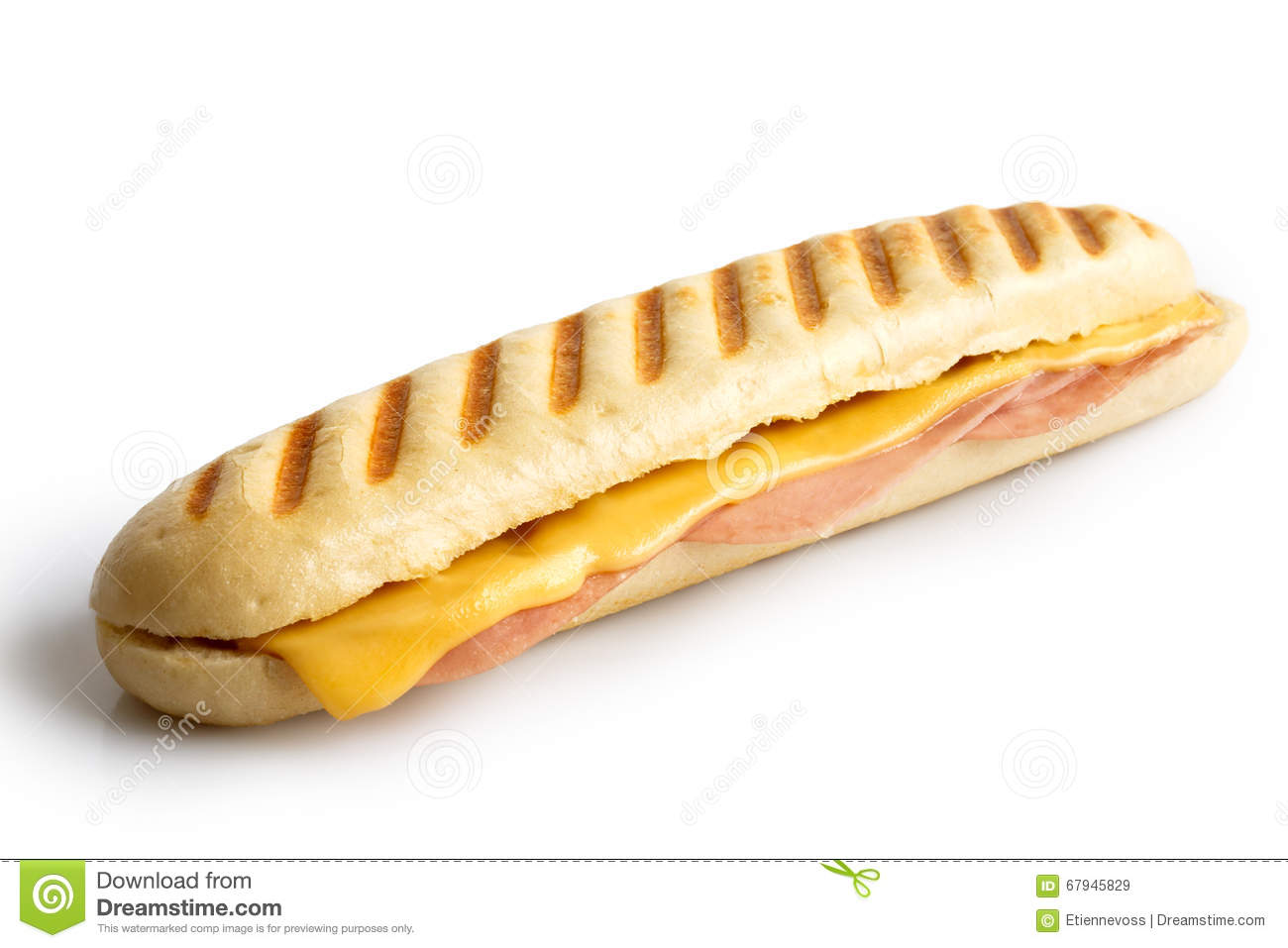 Cheese And Ham Toasted Panini. Isolated On White. Stock ...