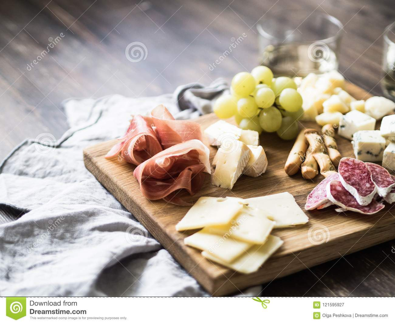 Cheese And Meat Wine Snack Set On Wood Board Variety Of Cheese