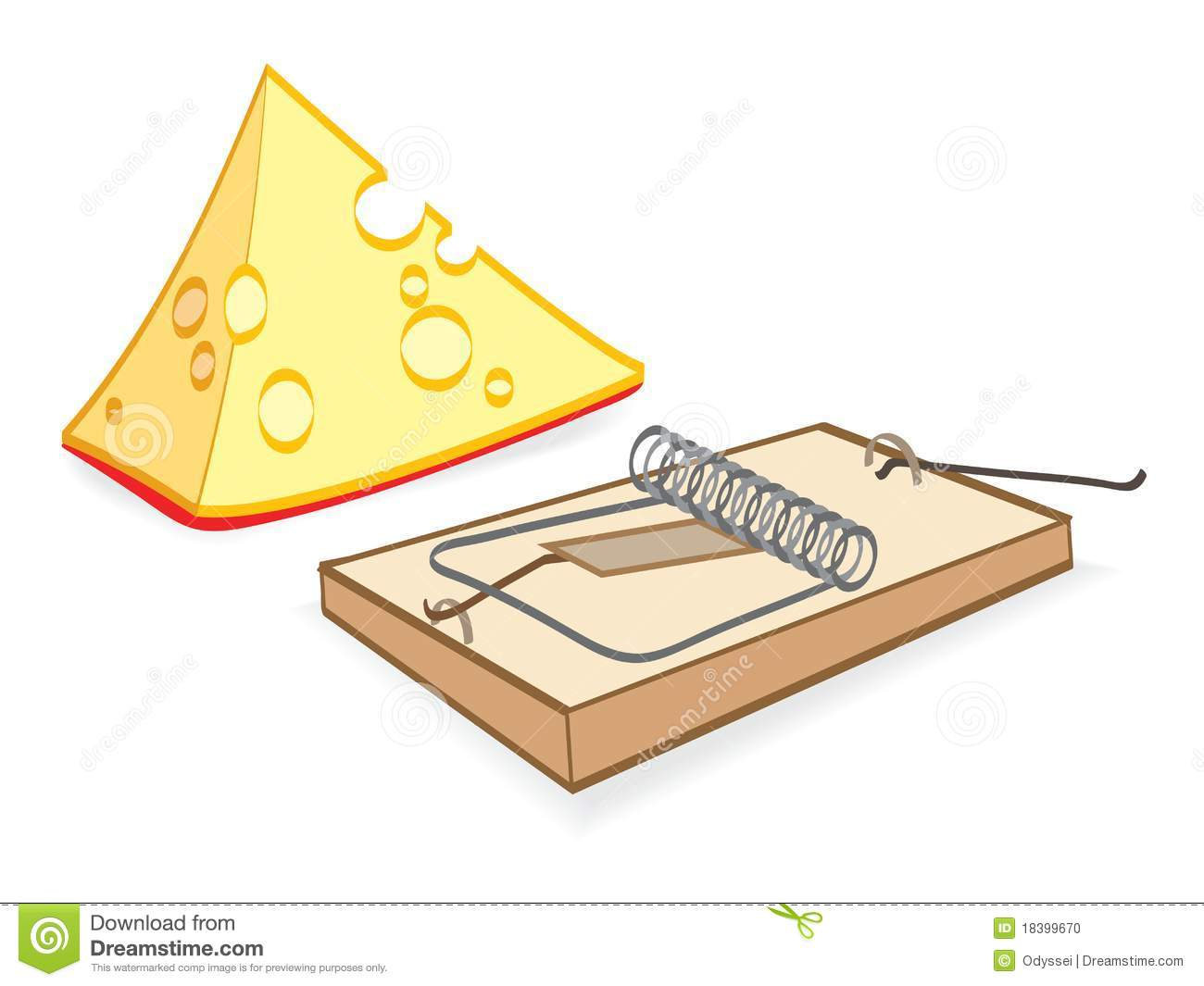 Cheese and mousetrap cartoon stock vector illustration - Tapette a souris ...