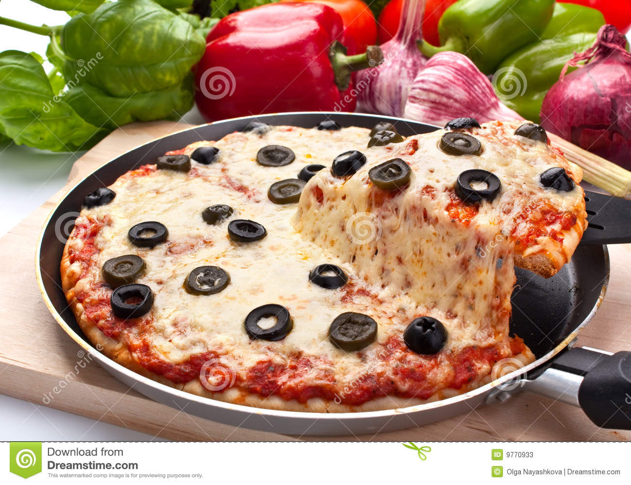 cheese and olive pizza one slice lifted up stock photos image 9770933. Black Bedroom Furniture Sets. Home Design Ideas