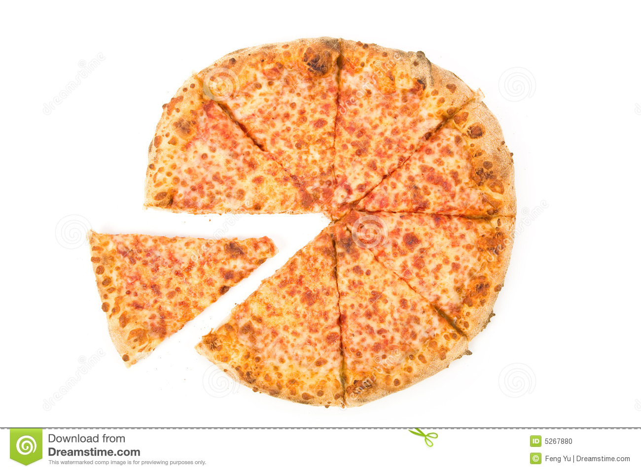 Cheese Pizza with white background, close up.