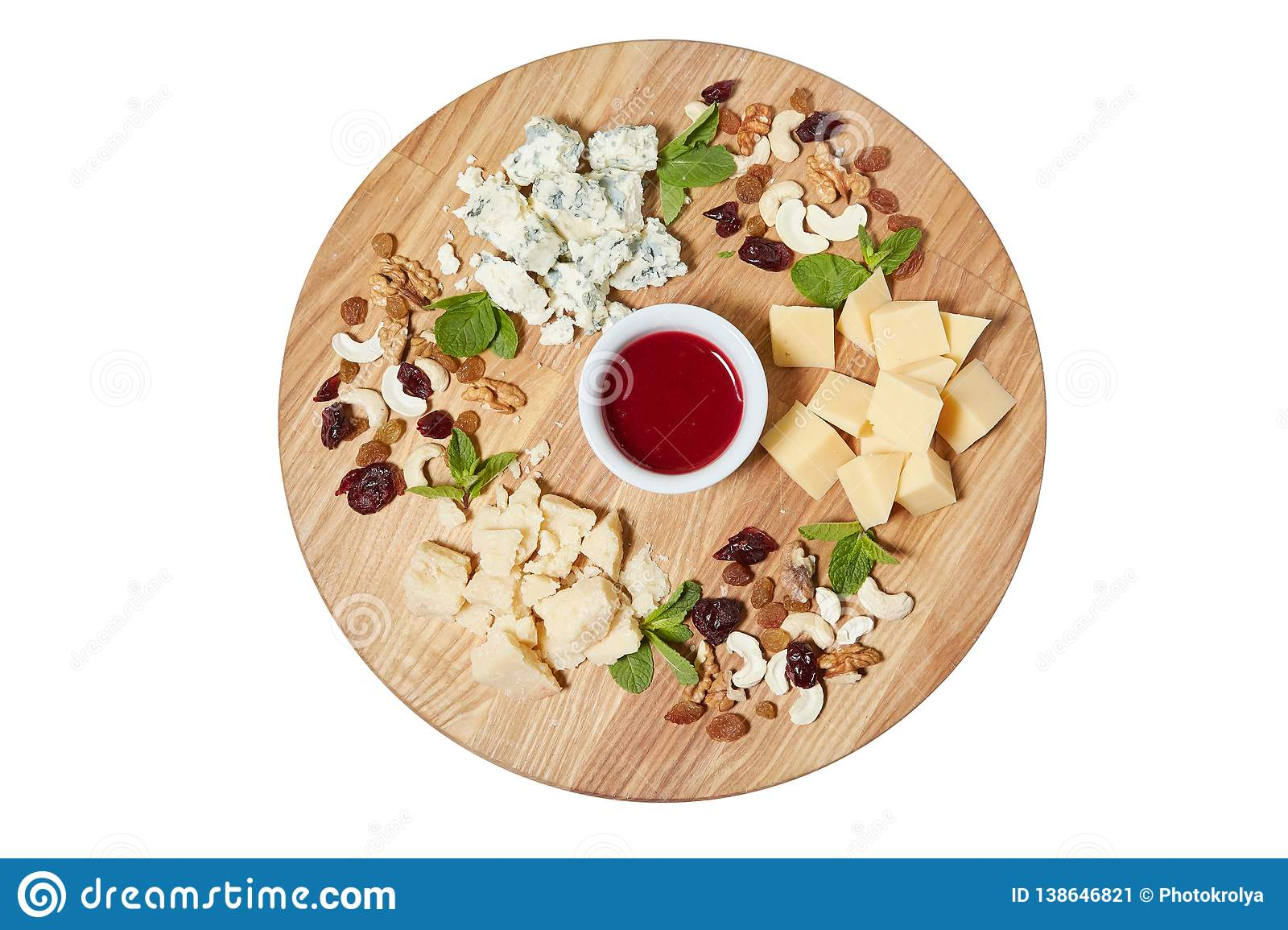 Cheese Plate Antipasti Snack With Mixed Italian Cheese Cashew Fresh Mint Leaves Stock Image Image Of Board Fresh 138646821
