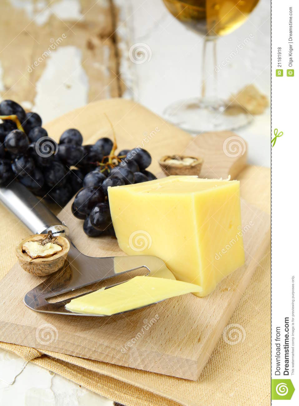 Cheese platter with grapes