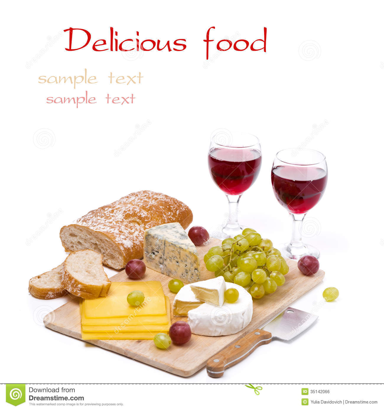 Royalty-Free Stock Photo  sc 1 st  Dreamstime.com & Cheese Platter Grapes Ciabatta And Two Glass Of Red Wine Stock ...