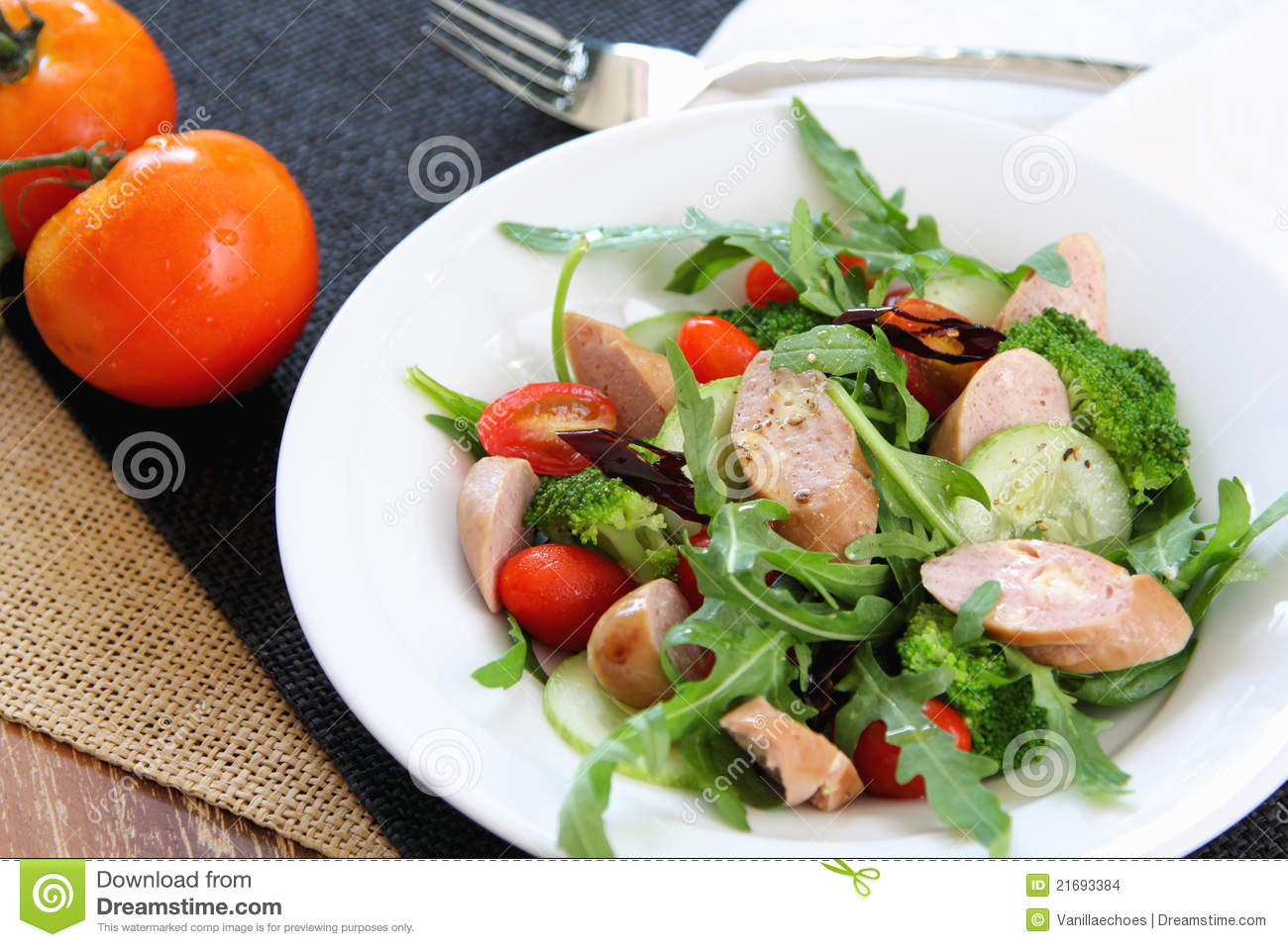 Stock Images: Cheese sausage and rocket salad