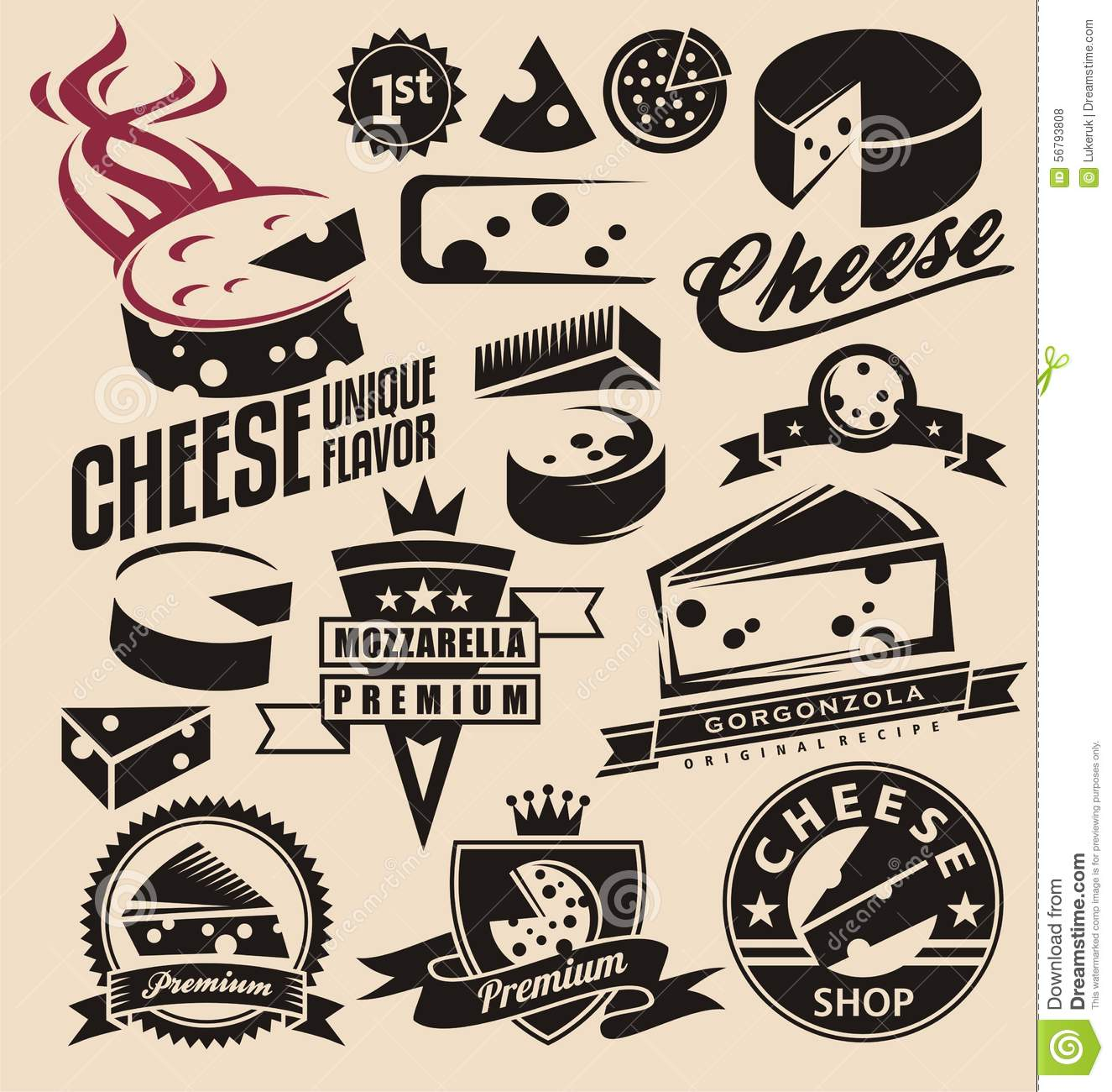 Set of cheese emblems, symbols, logo design concepts, badges, signs ...