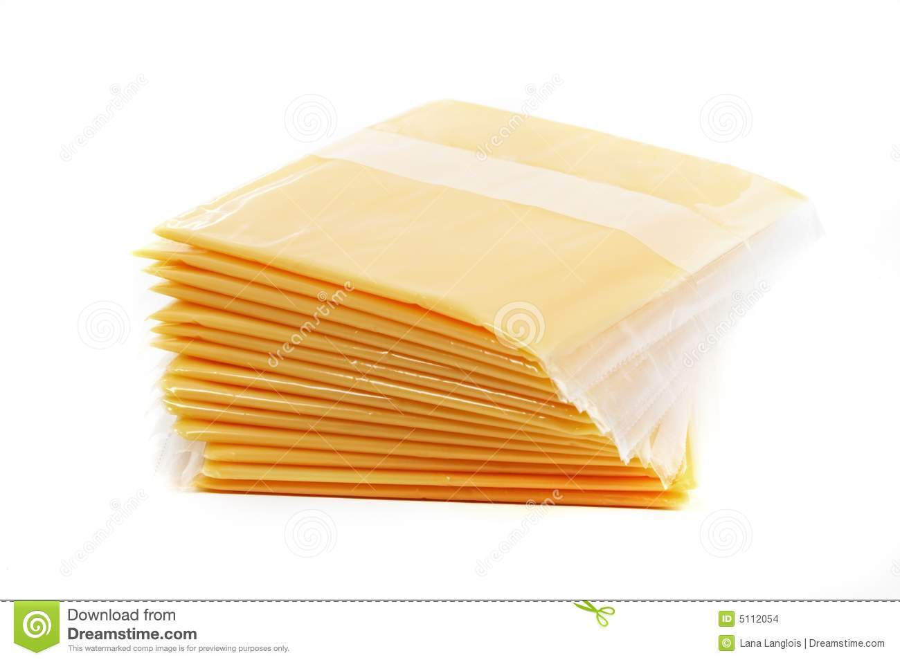 Slices of cheese individually wrapped, isolated on white.