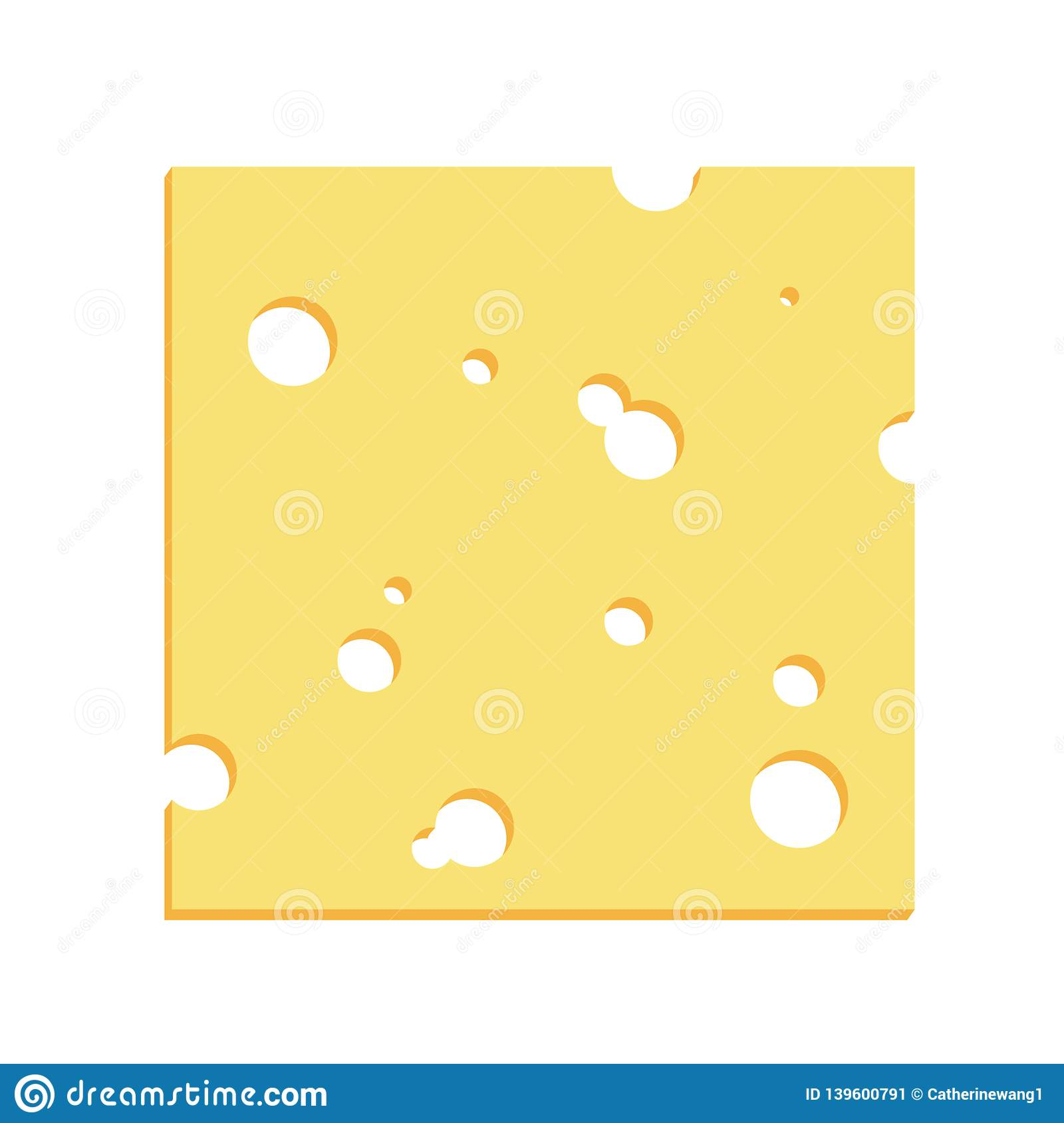 Cheese Square Slice With Holes Illustration