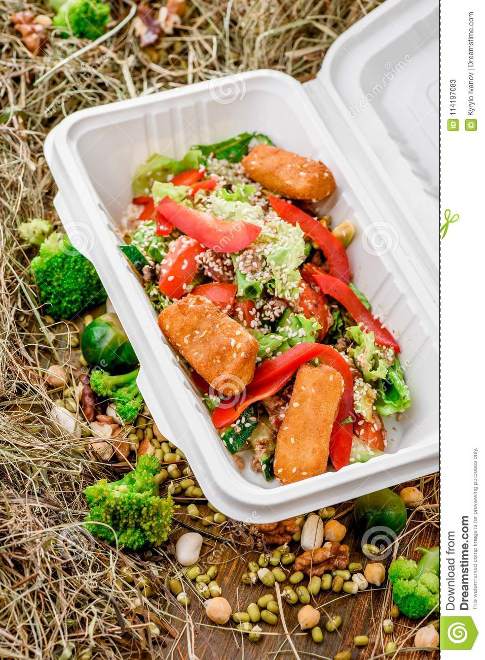 Cheese Sticks With Salad In A White Box Stock Image Image Of Restaurant Meat 114197083