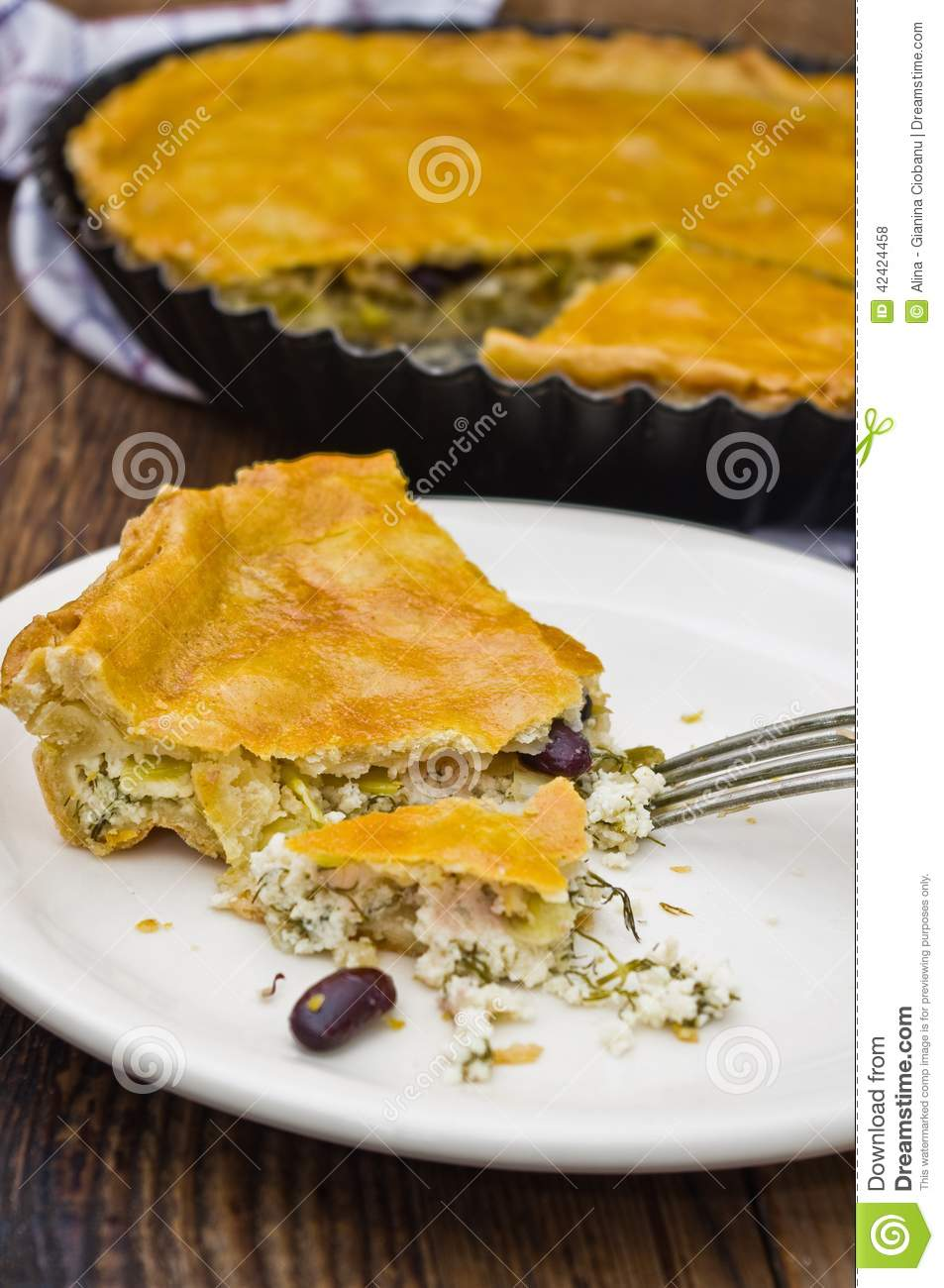 Cheese Tart With Leek And Red Beans Stock Photo - Image ...