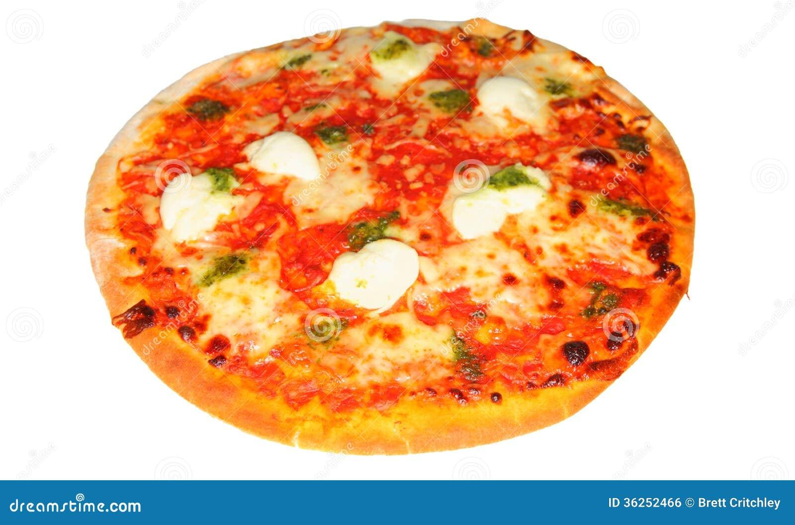 Mozzarella cheese, tomato and pesto pizza on white.