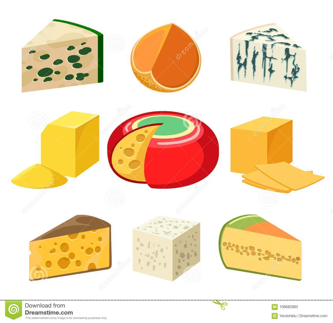 cheese types and slices stock vector illustration of healthy
