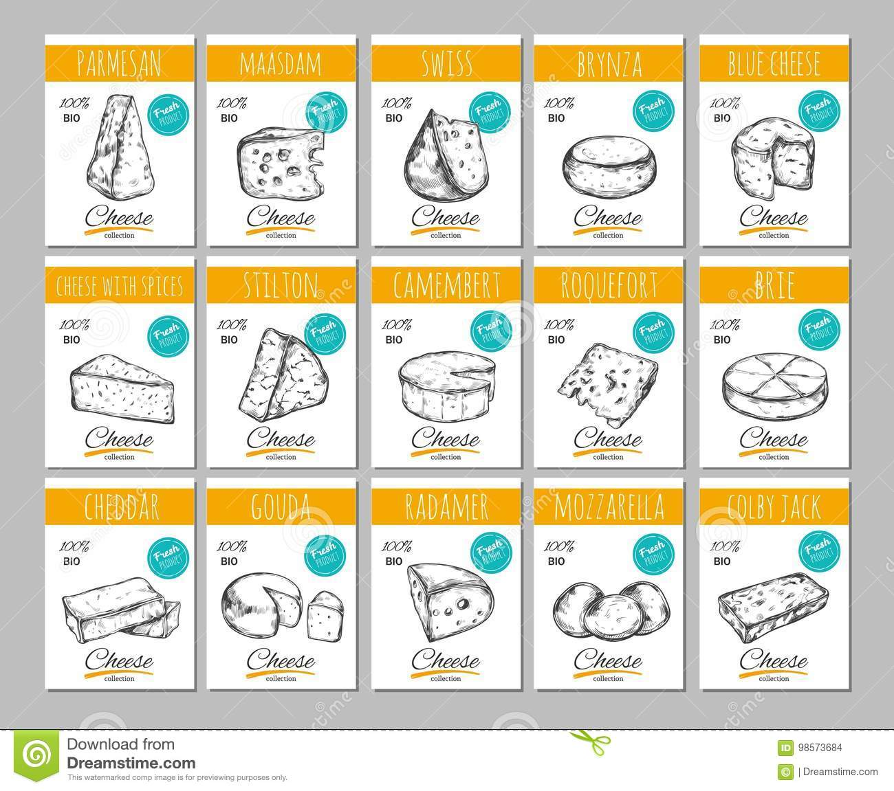 cheese vector hand drawn banners labels with different types of
