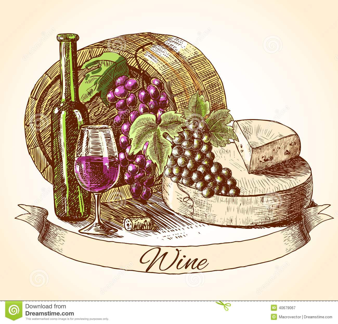cheese wine and bread background stock vector