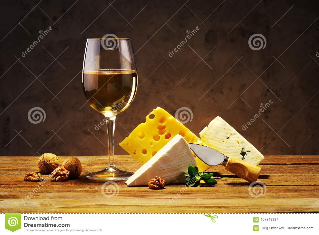Cheese And Wine In A Glass On A Wooden Board Stock Image Image Of