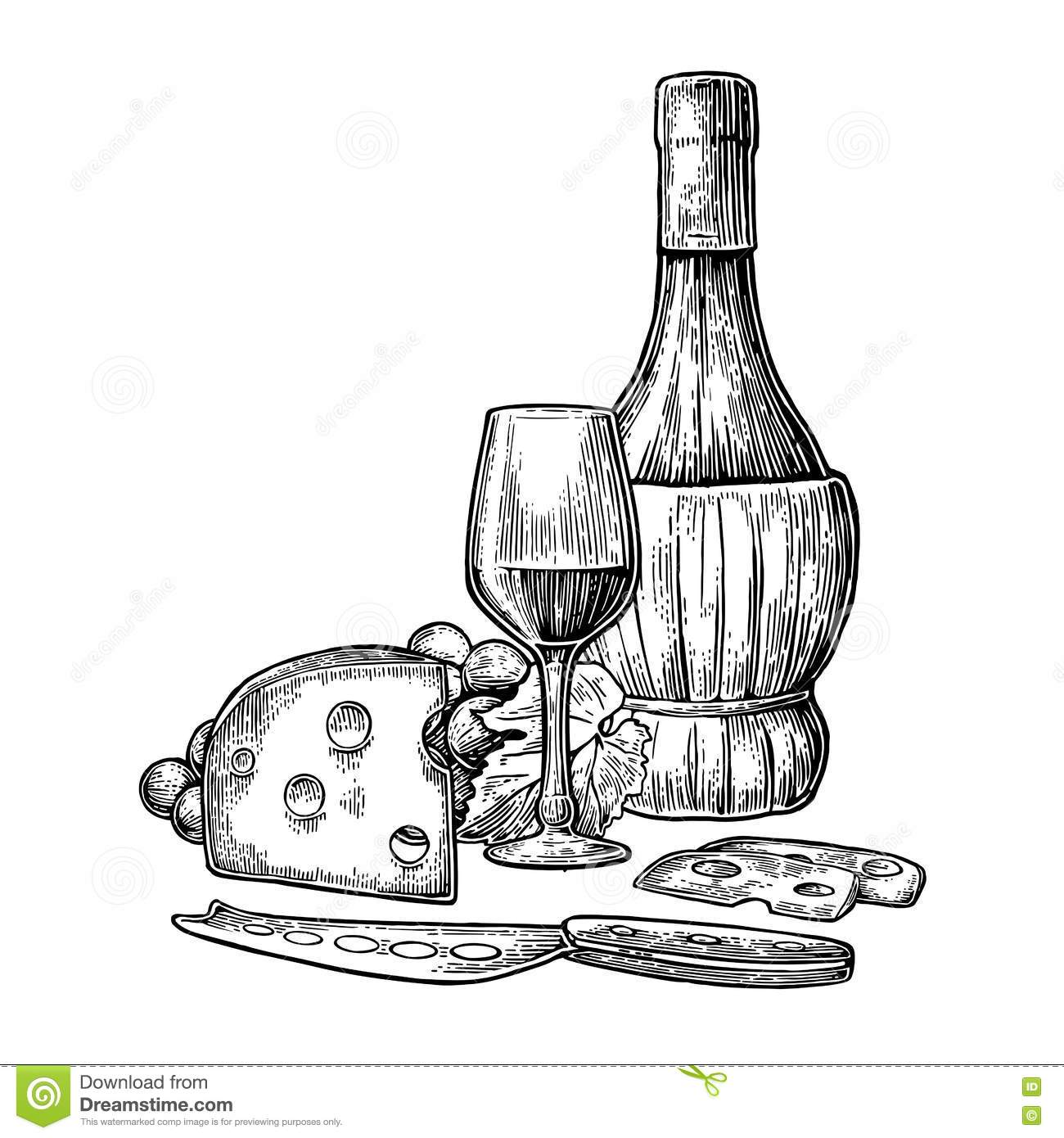 cheese and wine set  bottle  glass  bunch of grapes and