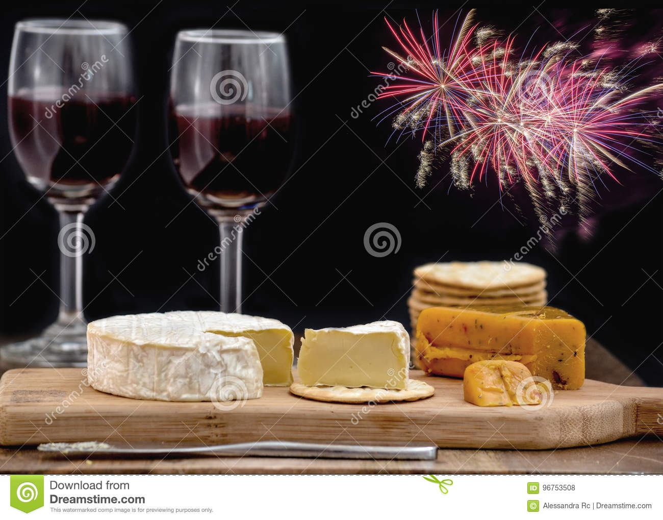 Cheese And Wine For Two Stock Photo Image Of Board Meal 96753508