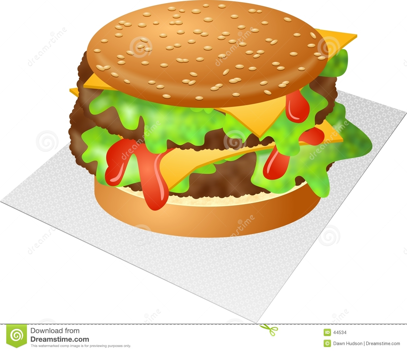 Download Cheeseburger stock illustration. Illustration of meal, fattening - 44534