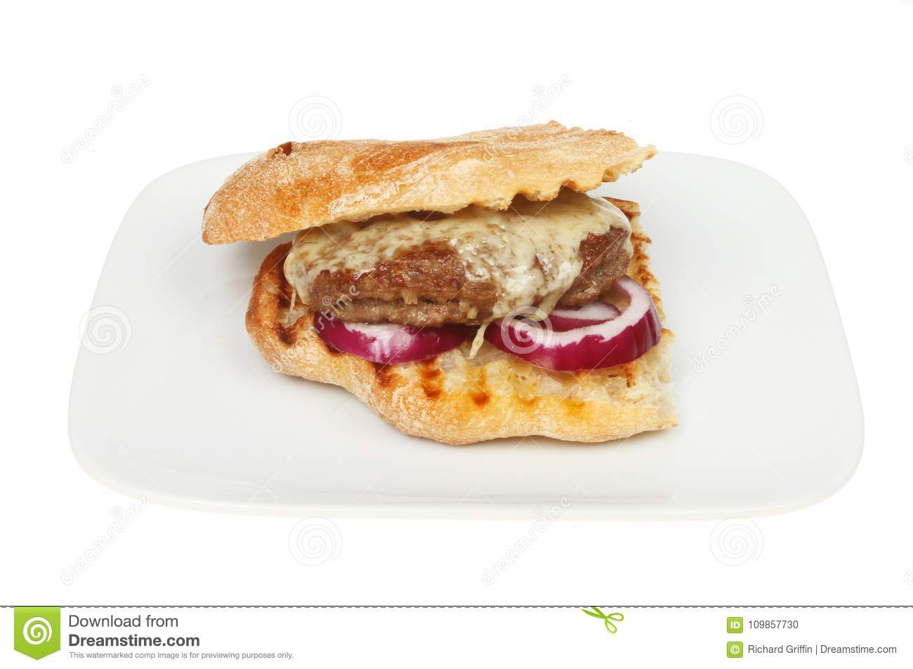 Cheeseburger in ciabatta