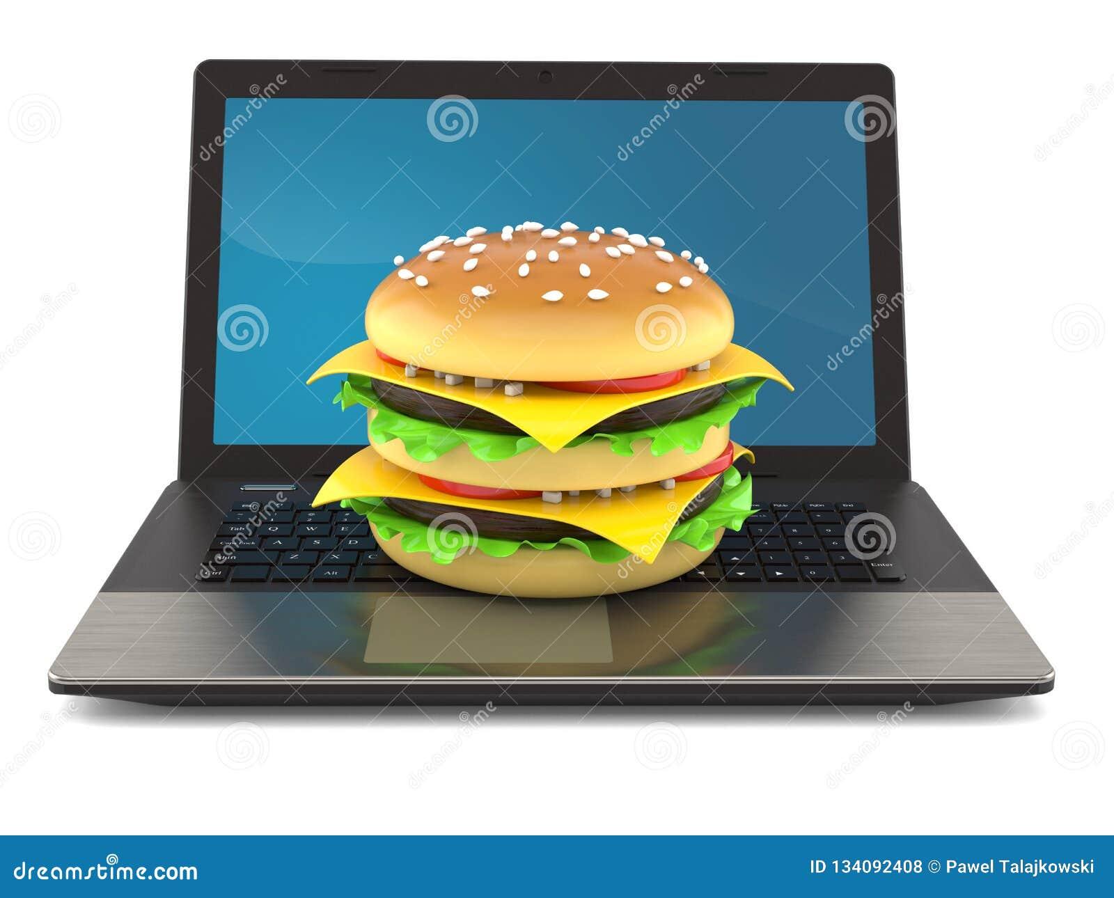 Cheeseburger com portátil