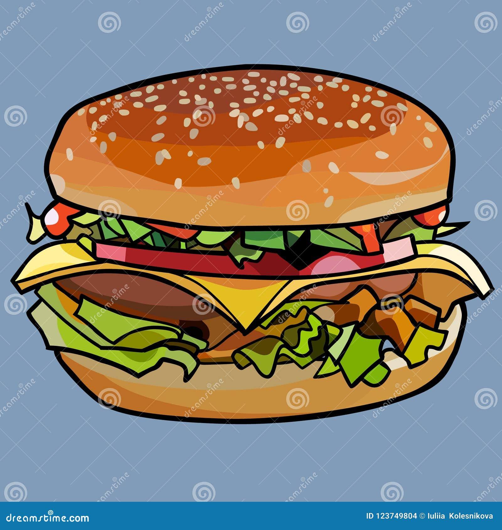 Cheeseburger tirado desenhos animados, sanduíche com queijo e carne e vegetais