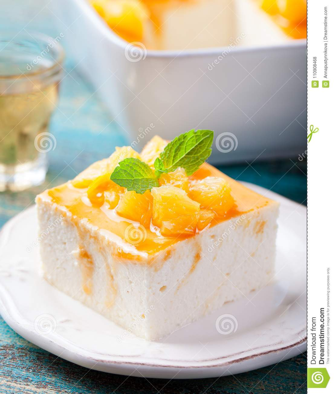 Cottage Cheese With Jam: Cheesecake, Cottage Cheese Pudding Stock Photo