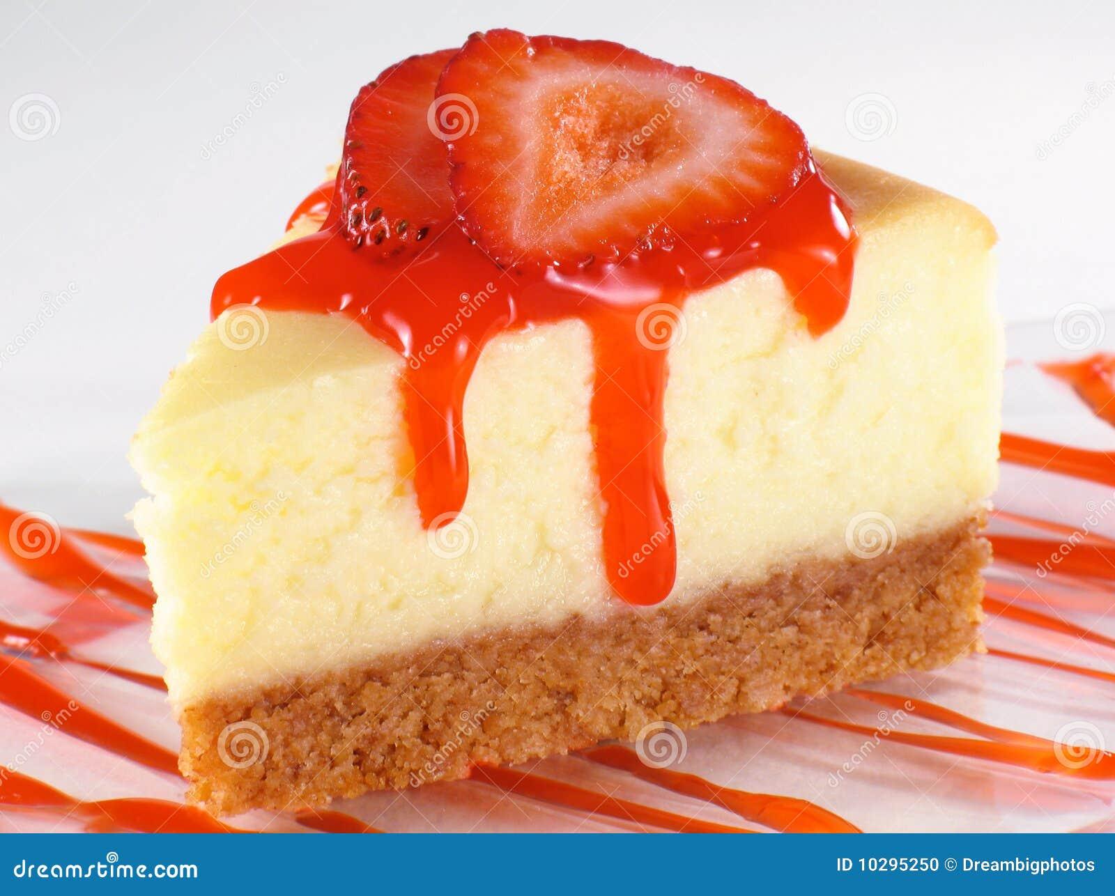Cheesecake And Strawberry Sauce Stock Photo - Image: 10295250