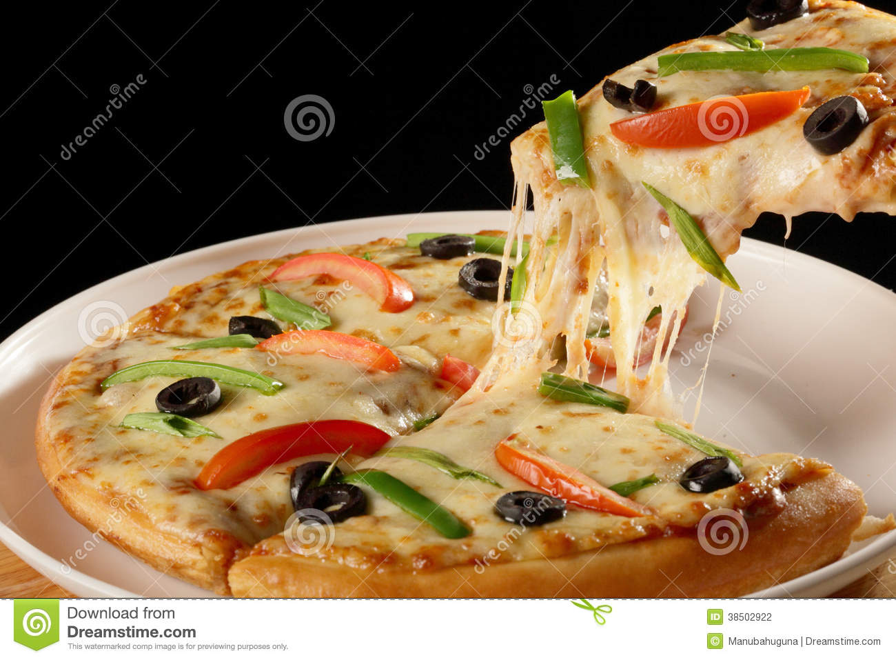 Cheesy Vegetable Pizza Stock Photography Image 38502922