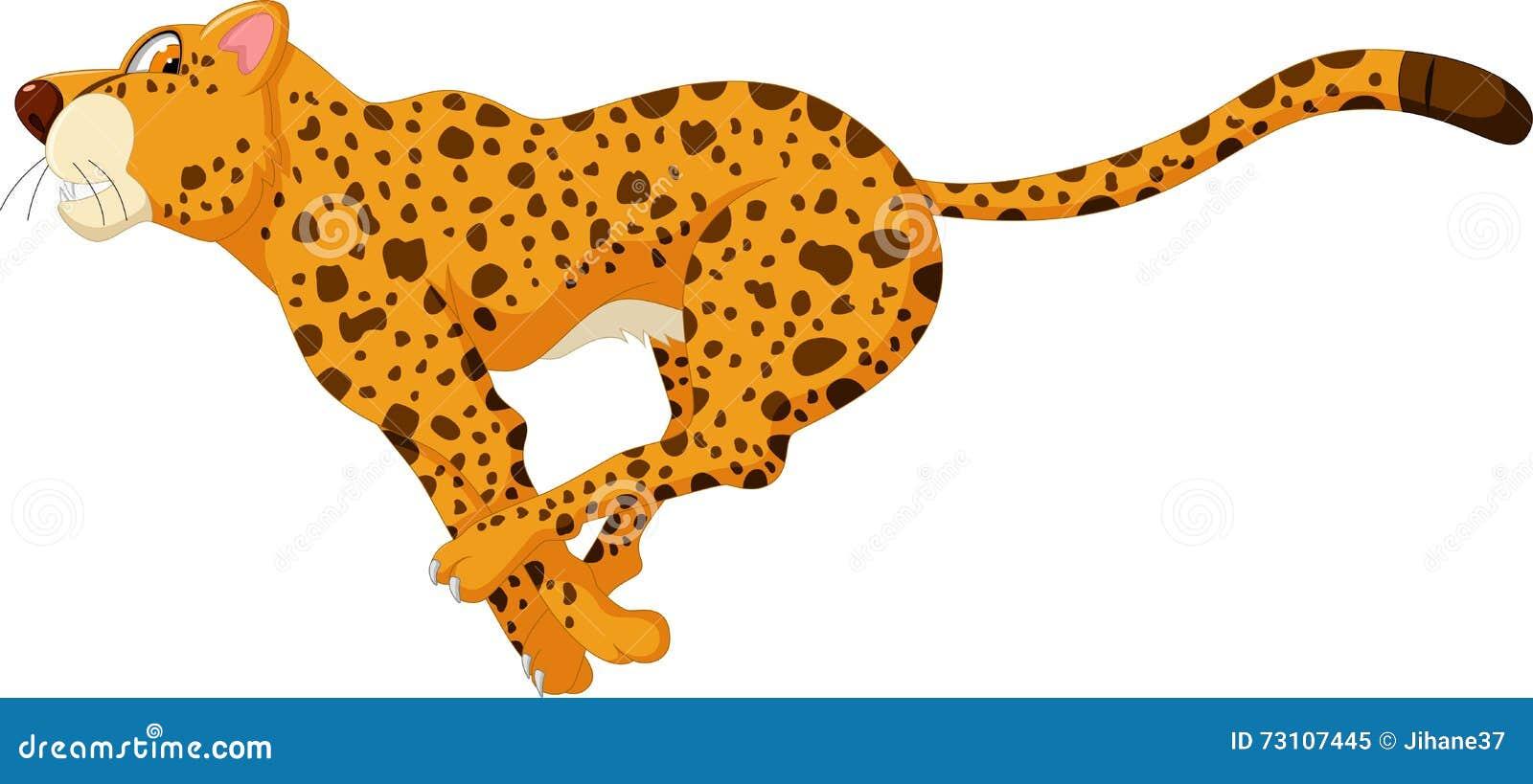 Cheetah Cartoon Running Fast Stock Illustration - Image ...
