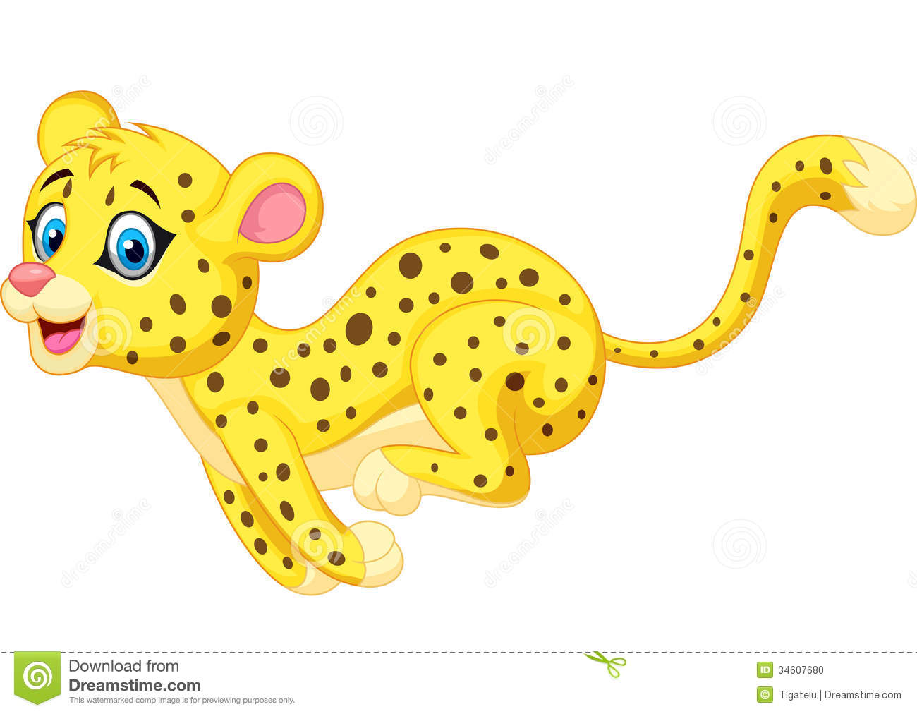 Cheetah cartoon running stock vector. Illustration of play ...