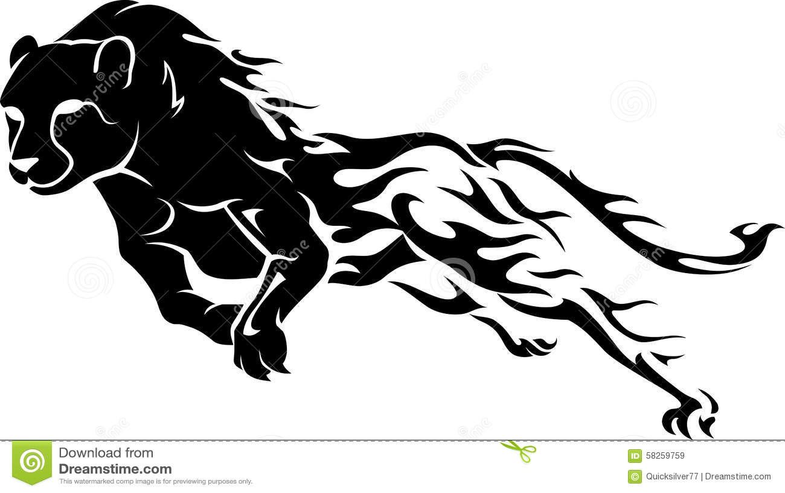 running leopard vector