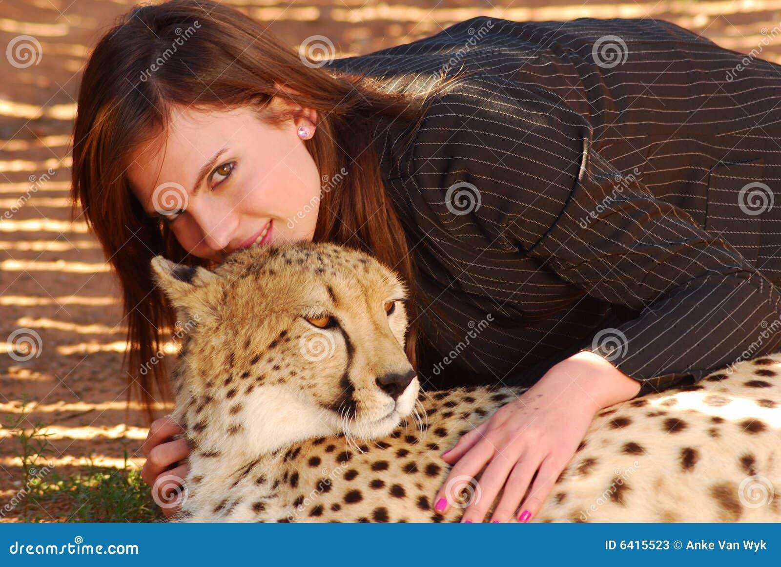 Cheetah and woman