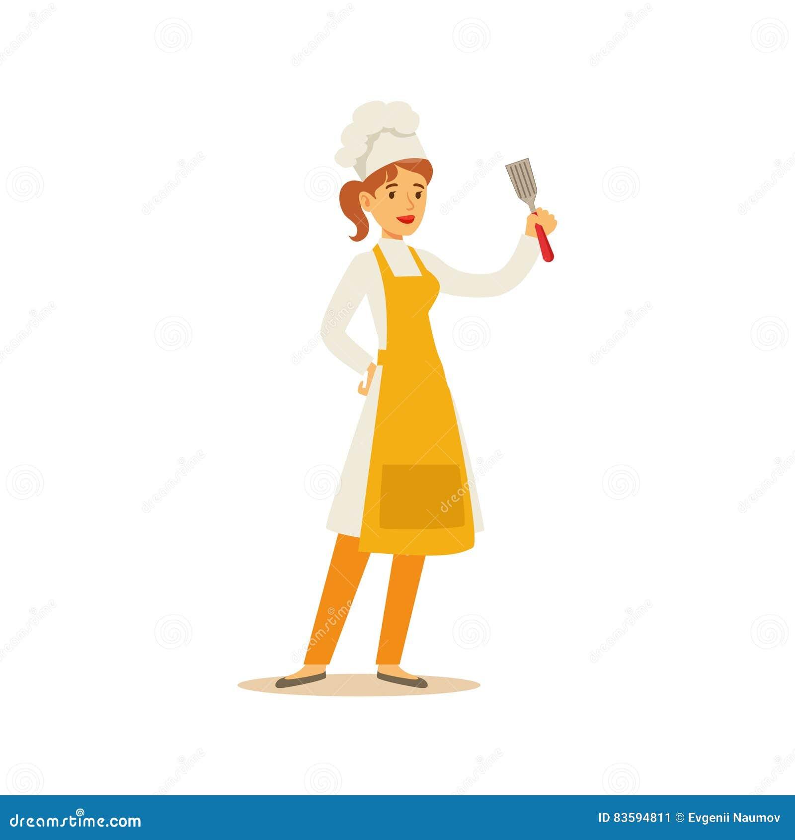 Chef à Cuire Professionnel Working In Restaurant De Femme Portant L