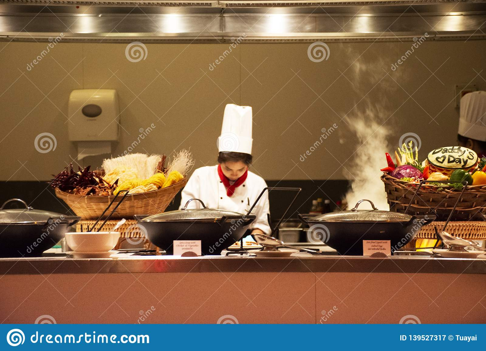 Chef And Assistant Chefs Cooking And Prepared Buffet Food At Restaurant In Night Time In Bangkok Thailand Editorial Photography Image Of Food Appetizer 139527317