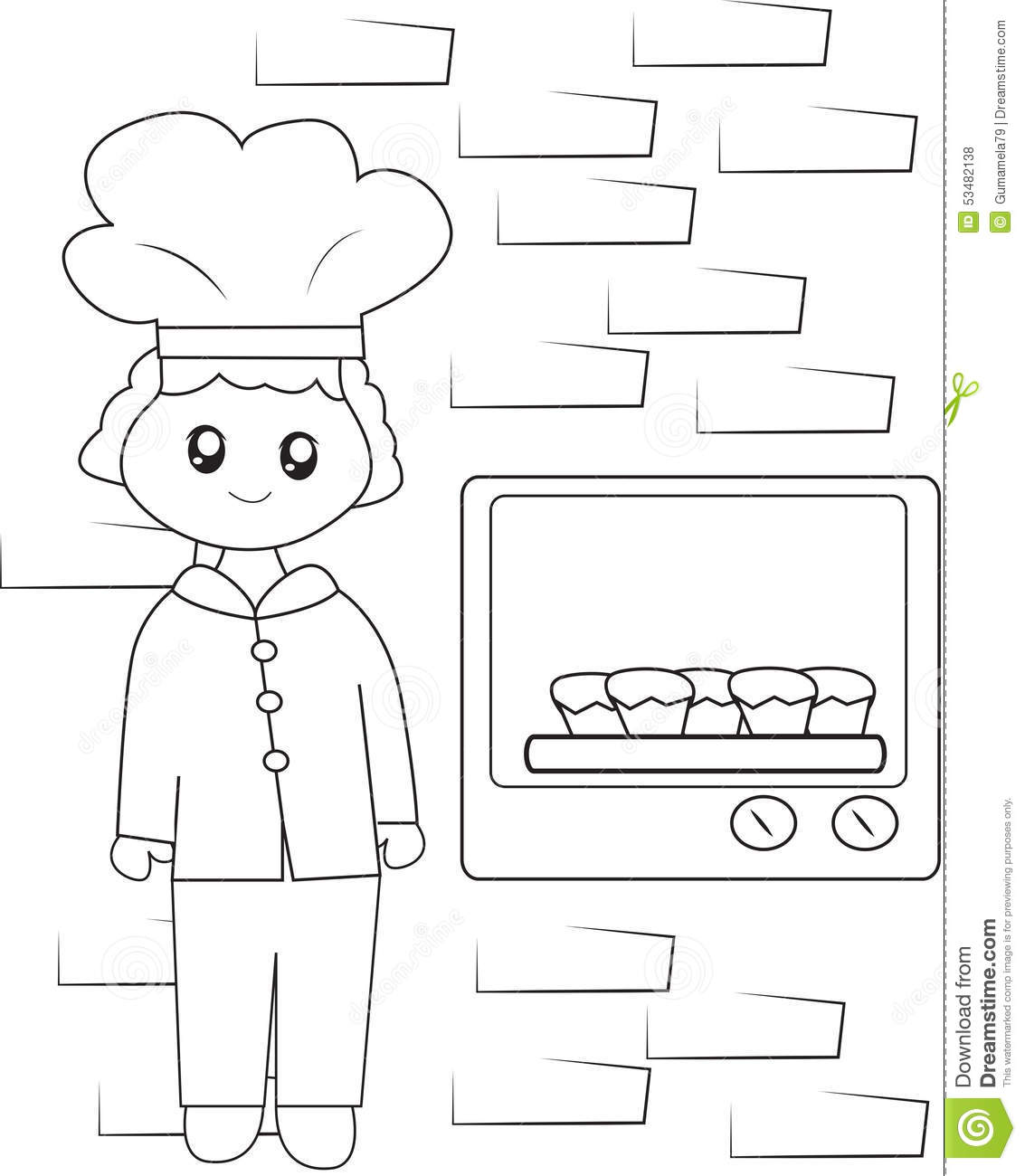 the chef baking cupcakes coloring page stock illustration image