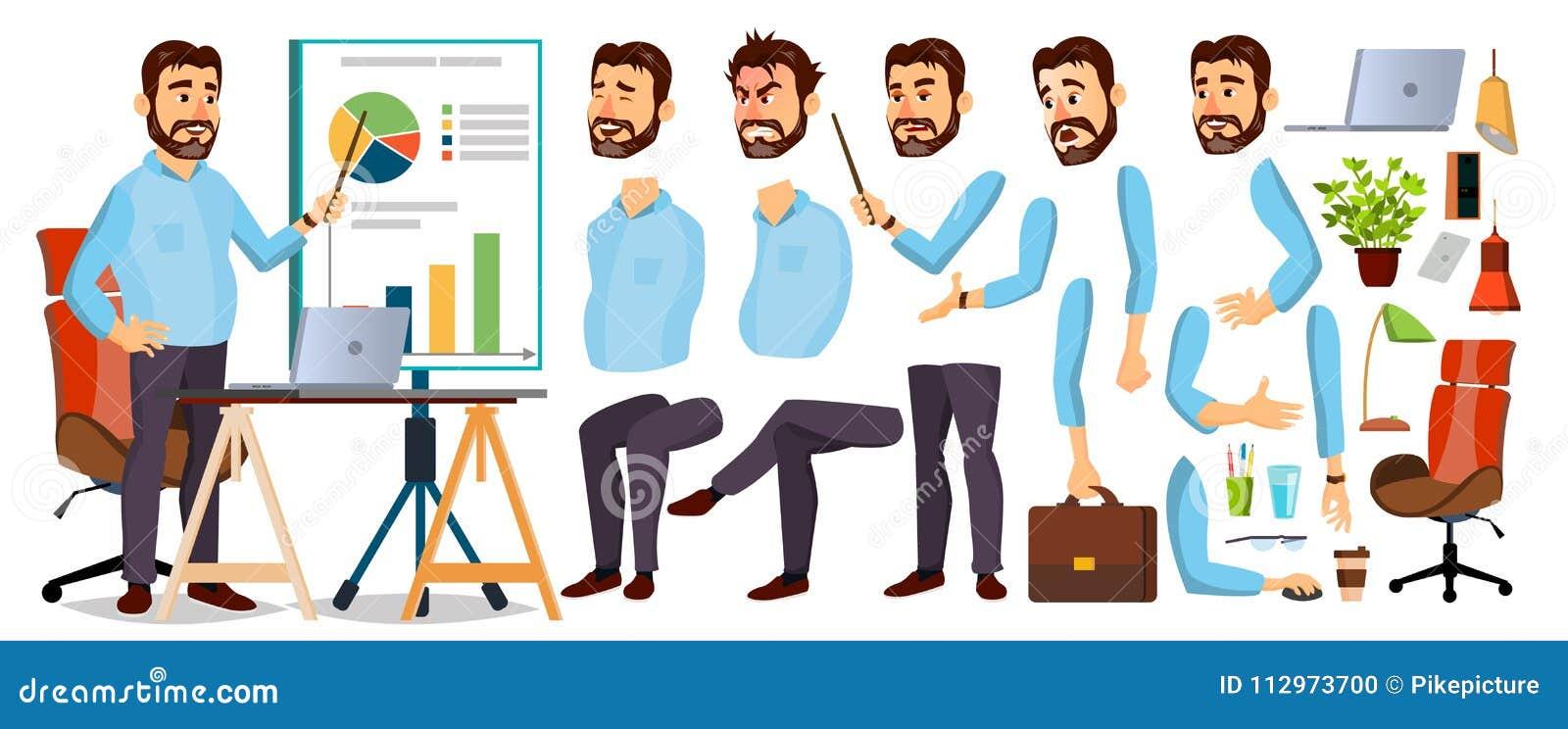 Chef- Business Man Character-Vector Werkende Gebaarde CEO Male Opstarten Moderne bureauwerkplaats President Officer