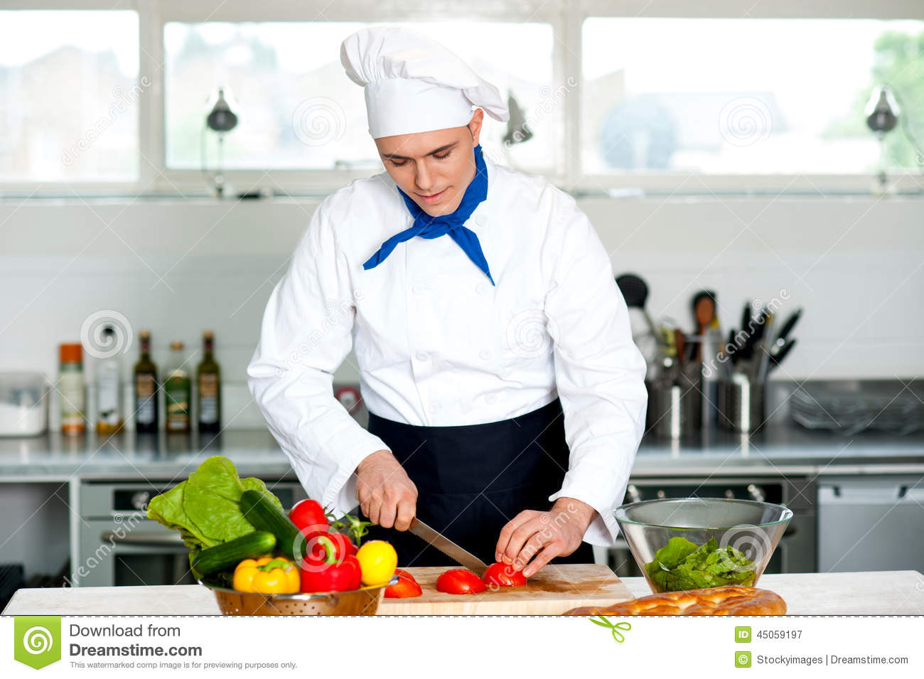 Chef Carefully Chopping Vegetables Stock Photo - Image ...