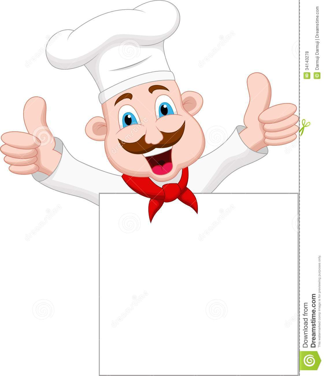 Chef Cartoon Character With Blank Sign Stock Illustration