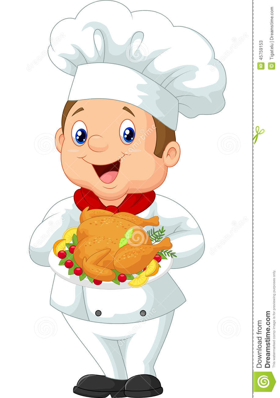 Chef Cartoon Holding Roasted Chicken Stock Vector - Image: 45759153