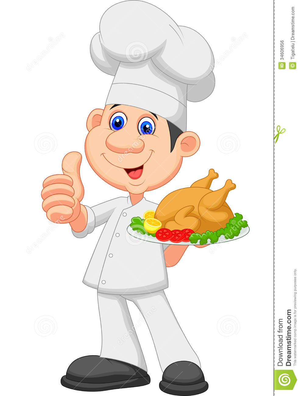 chef cartoon with roasted chicken stock vector barbeque clip art food inviting you to barbeque clipart cartoon