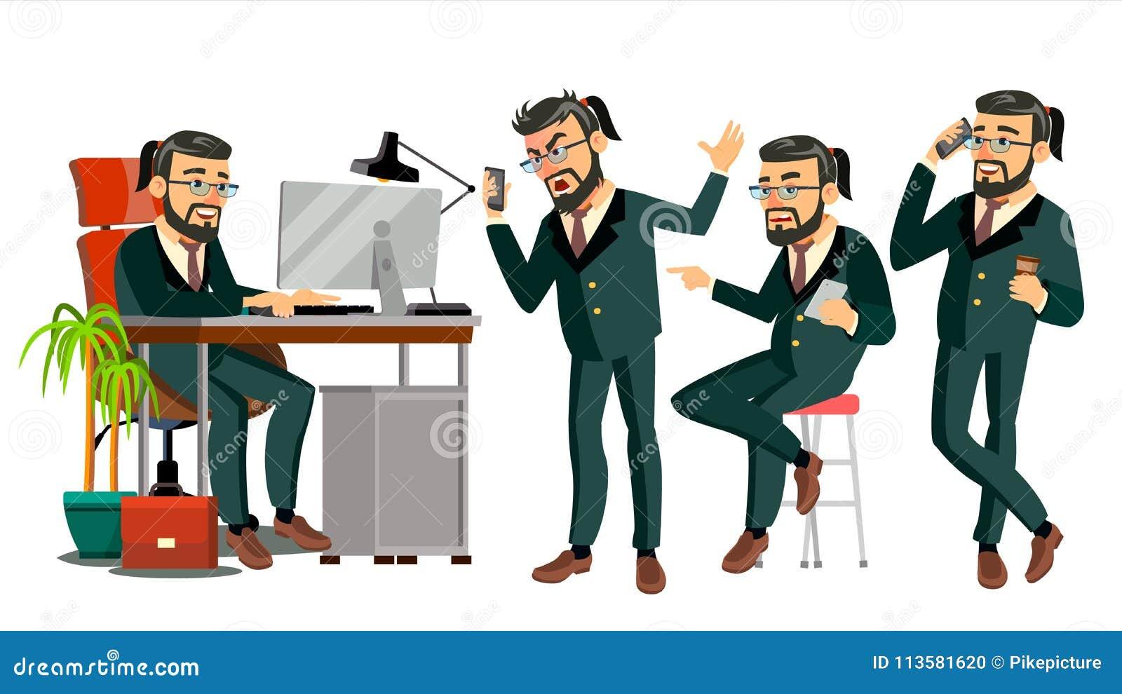 Chef CEO Character Vector IT-Start-Unternehmen Körper-Schablone für Design Verschiedene Haltungen, Situationen karikatur