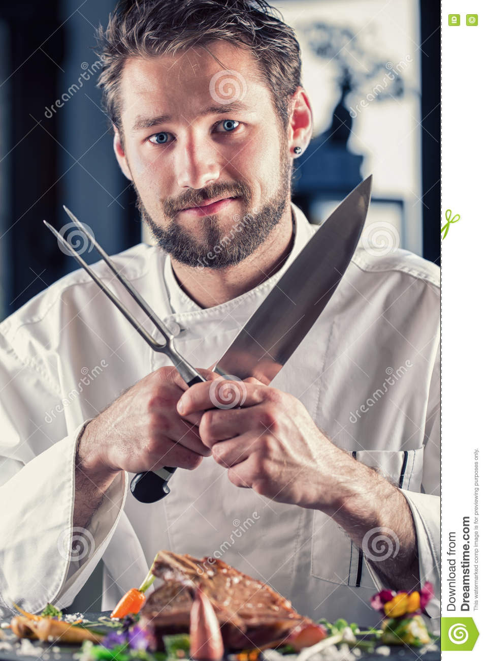 Chef Chef Funny Chef With Knife And Fork Arms Crossed