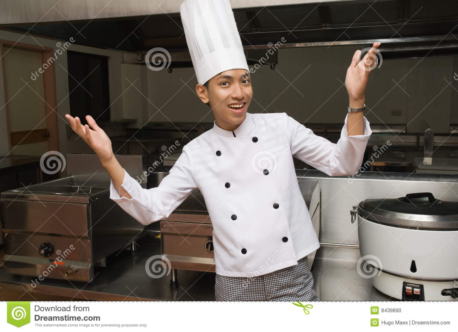 chef chinois dans la cuisine de restaurant photo stock image 8439890