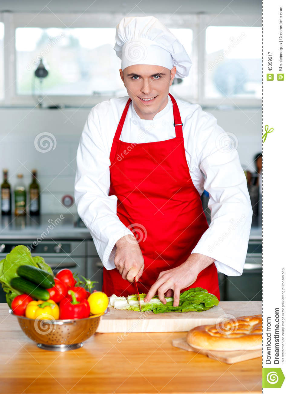 Chef Chopping Vegetables In Kitchen Stock Photo - Image ...